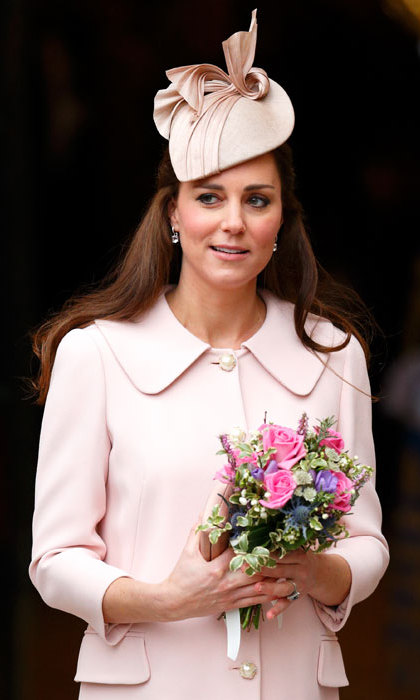 Pretty in pink! Kate wore one of her favorite milliners Jane Taylor once again for an official engagement in March 2015.