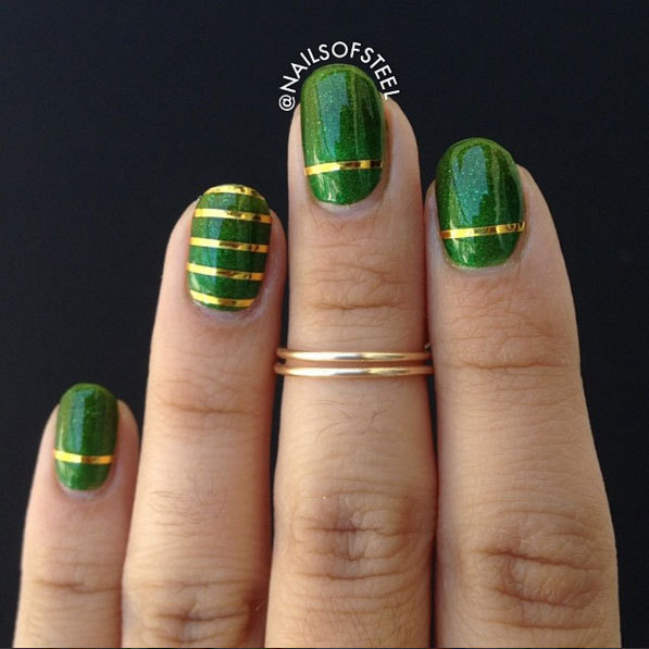 First off, we're loving the midi rings - they complement the nails really well! If you have a steady hand, you can have a go at painting the stripes across the nail. If you're not so confident with your painting ability, a sticker will work just as well. Regardless of which method you choose, be sure to paint a layer of top coat polish to seal the deal.