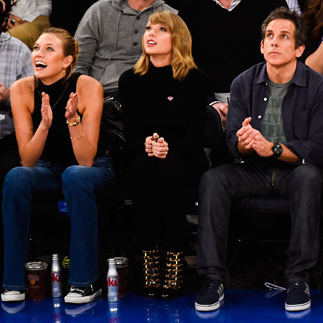 From the runway to the court. Model Karlie Kloss, Taylor Swift and <i>Zoolander</i>'s Ben Stiller made the court look <i>really, really ridiculously good-looking</i> at a New York Knicks vs. Chicago Bulls game.