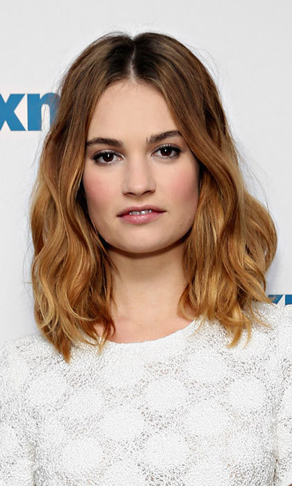 If you're not feeling brave enough to go short, style it up like Lily James and go for a long bob, a.k.a. the 'lob'.