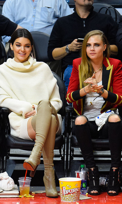 Model buddies Kendall Jenner and Cara Delevingne (in a ring leader-inspired blazer) made the basketball game their personal runway.