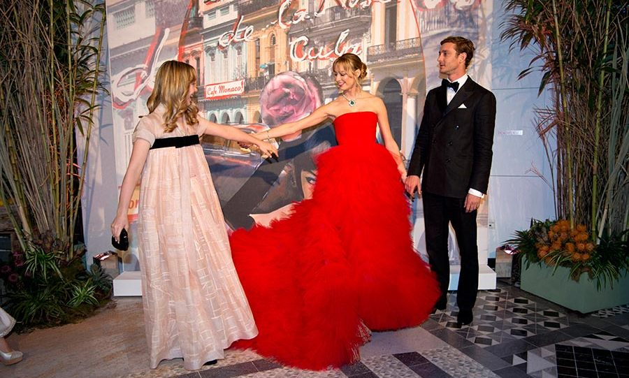 Take my hand: Princess Alexandra of Hanover, who is pictured with Beatrice Borromeo and Pierre Casiraghi, made her debut at the ball this year.