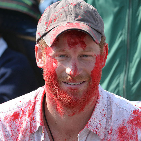 Prince Harry was covered in paint during the celebration of Holi.