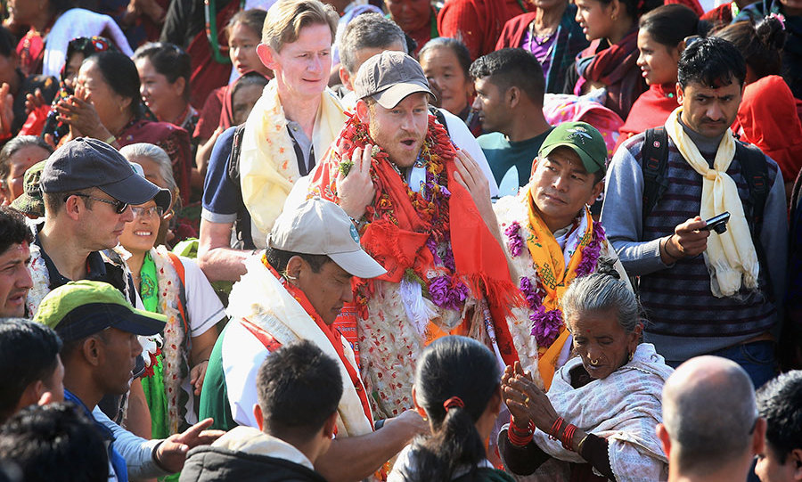 Prince Harry arrived in the Himalayan village of Okhari on day four of his trip.