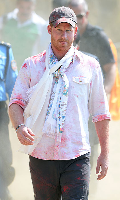 He didn't seem to be too bothered by being covered in paint powder.