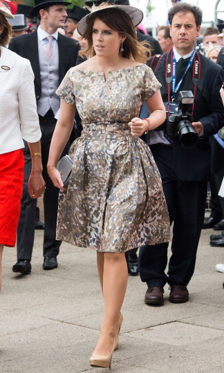 Off to the races! Princess Eugenie was derby ready in 2013 wearing a printed dress and matching fascinator, paired with beige heels at the Investec Epsom Derby.