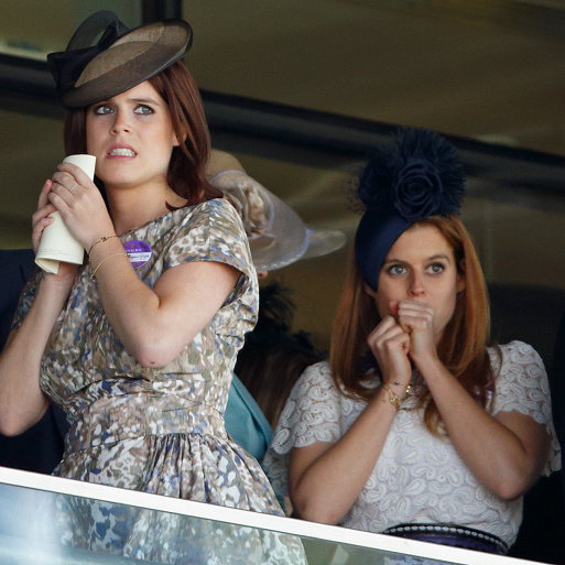 June 2015: That Royal Ascot day is sure suspenseful! Both sisters had the same reaction to whatever was happening down below.
