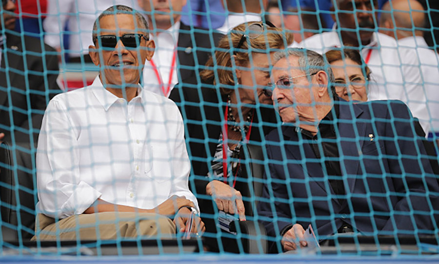 March 22: President Obama and Raul Castro watched as the Tampa Bay Rays played Cuba's National team. 