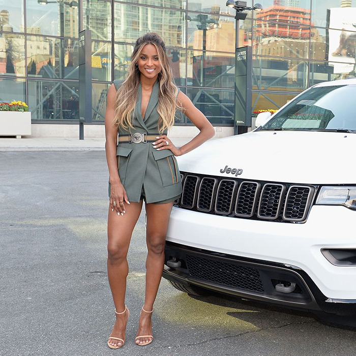 March 23: Beep beep! Newly engaged Ciara hopped behind the wheel of a Jeep during the Jeep Brand's 75th anniversary celebration in NYC.