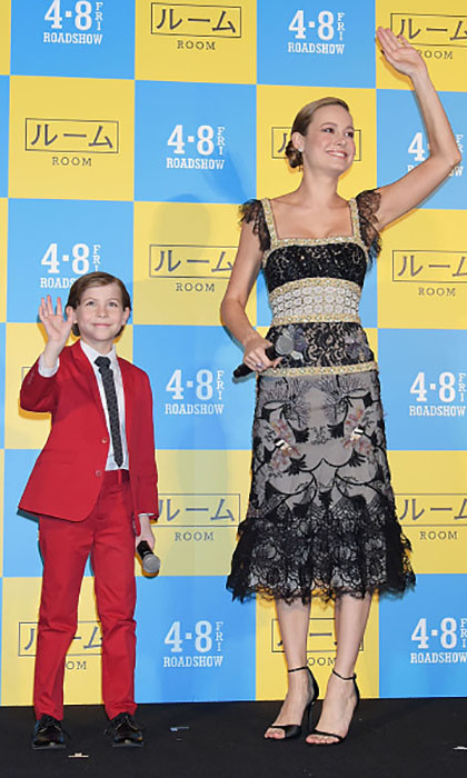 March 22: Together again! Brie Larson and Jacob Tremblay got together on the red carpet one more time for the <i>Room</i> premiere in Tokyo. 