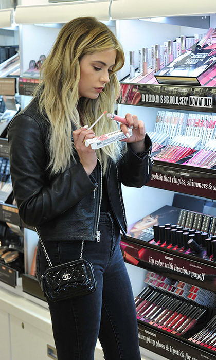March 22: Pretty little shopper! Ashley Benson shopped her go-to beauty brand, Buxom Cosmetics at Ulta Beauty in L.A.