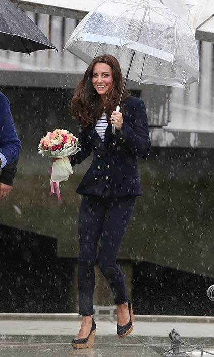 The duchess proved her thrifty ways yet again as she arrived in New Zealand in an outfit we'd seen before. Kate took part in a friendly sailing race with her husband at the Viaduct Basin (in which she beat him, twice!) wearing a navy double-breasted jacket with slim pants – the same outfit she wore at Olympic Park in 2013 and at the 2012 London Olympics when she paid a visit to the athletes in Olympic Village. 