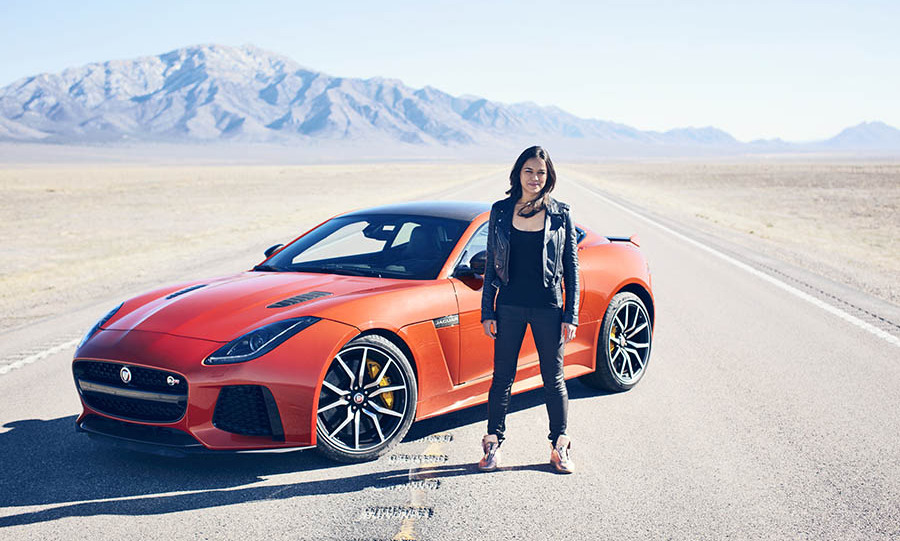 March 23: Fast and Furious! Michelle Rodriguez hit 200 mph when she took the new Jaguar F-TYPE SVR for a test drive. 