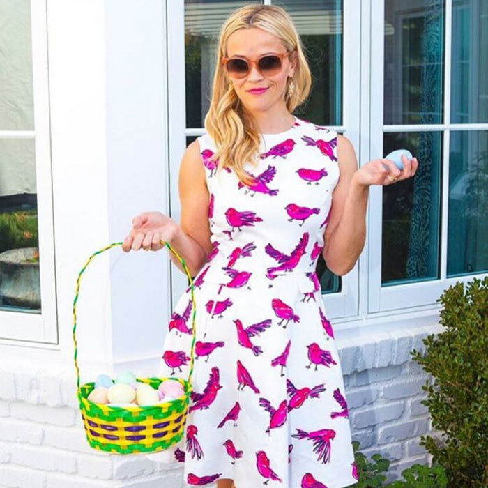 Reese Witherspoon sure knows how to do Easter fashion. The actress looked fab rocking a purple and white print dress from her clothing line, Draper James.