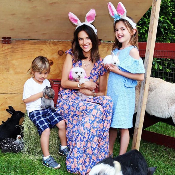 Alessandra Ambrosio wished a happy Easter from her family  to yours.