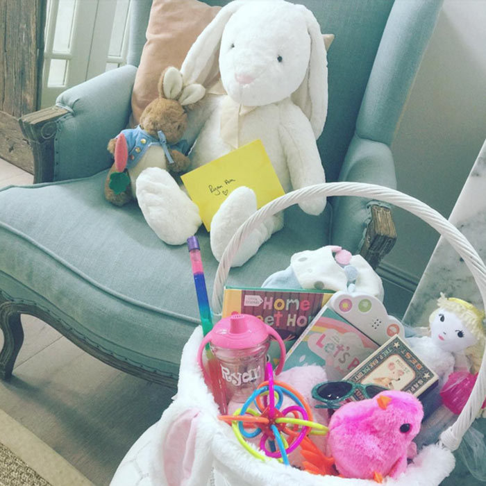 "Haylie Duff couldn't help but spoil her daughter Ryan on her first Easter. ""Think we went a bit overboard with Ryan's 1st Easter basket...I can't help it, I'm excited!! #babys1st #HappyEaster #EasterBasket""