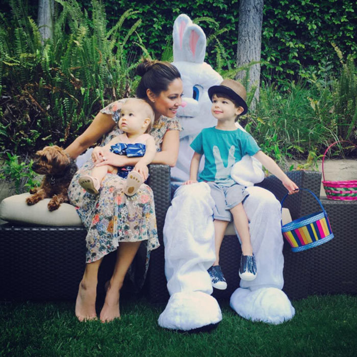 "Aaw looks like the Lachey family had a very happy Easter. ""Feeling pretty Blessed with this sweet little family of mine. #HappyEaster Hope yours was full of laughs and love... and lots of candy! Haha!""