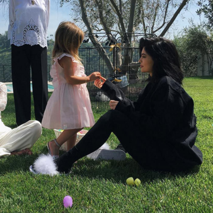 It was a family affair at Kim Kardashian's house. Kylie Jenner enjoyed some special bonding time with her niece Penelope Disick during the family Easter egg hunt.