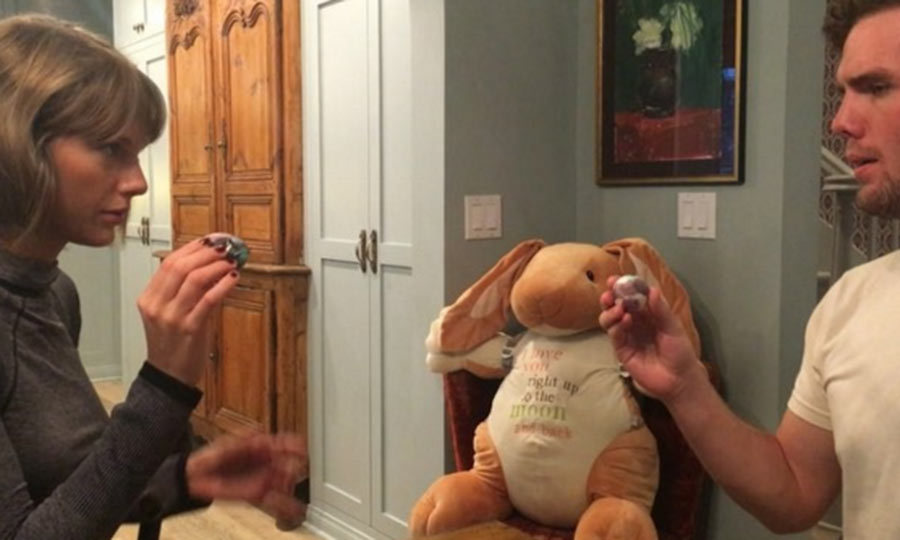 Taylor Swift and her brother Austin became embroiled in a very competitive Easter egg game over the weekend. The star shared their intense game on her Instagram page.
