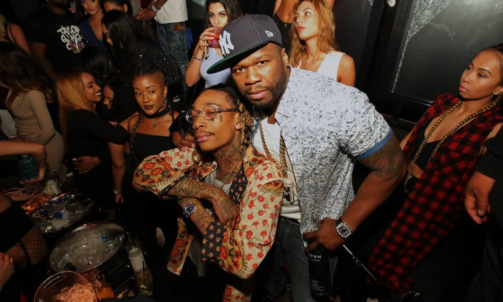 March 21: 50 Cent and Wiz Khalifa hopped on stage to perform for guests at Rockwell nightclub presented by EFFEN vodka in Miami Beach.