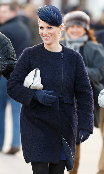 Zara Phillips wrapped up warm in a cozy blue coat to attend Ladies' Day at the Cheltenham Horse Racing Festival.