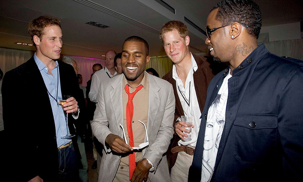 Time to party! William and Harry showed their appreciation for Kanye West and P. Diddy after the two rappers performed during the <i>Concert for Diana</i><br>