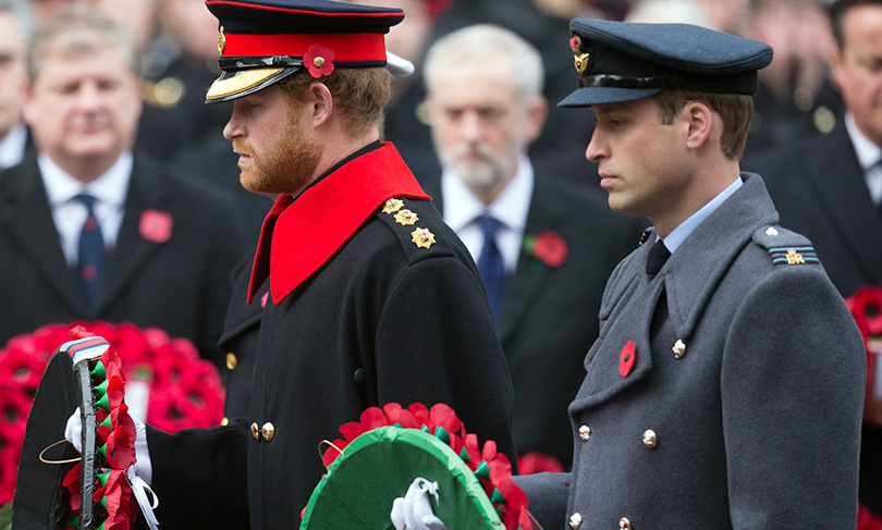 On a somber note, the two donned uniforms for the annual Remembrance Sunday Service at the Cenotaph on Whitehall in London. 