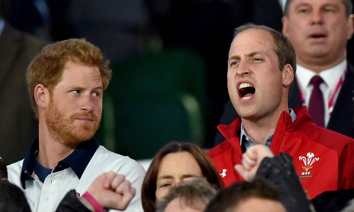 Prince Harry hilariously gave his older brother the royal side-eye as he cheered on England during the match. 