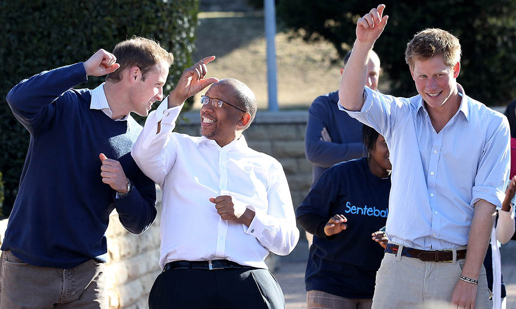 Dancing feet! Prince William and Prince Harry weren't too shy to dance with Prince Seeiso during a trip to Lesotho. 