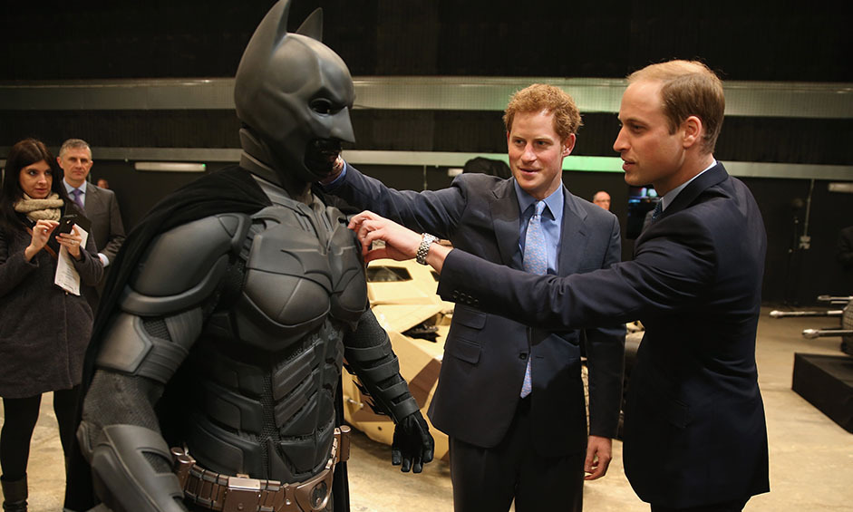 Super royals! William and Harry took a look at the Batman costume that was used in the films in England. 