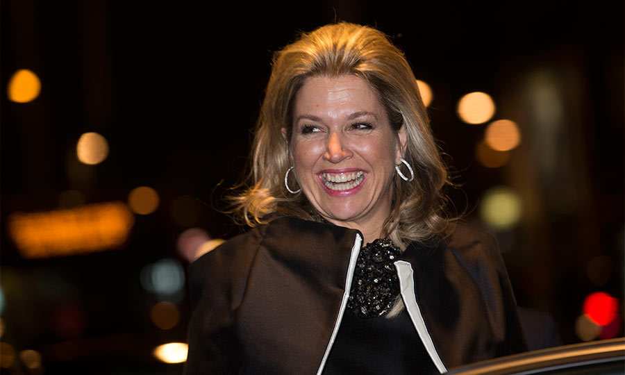 During an evening out, Maxima transformed a simple black dress into a show-stopping outfit, with the addition of an oversized black stone necklace.