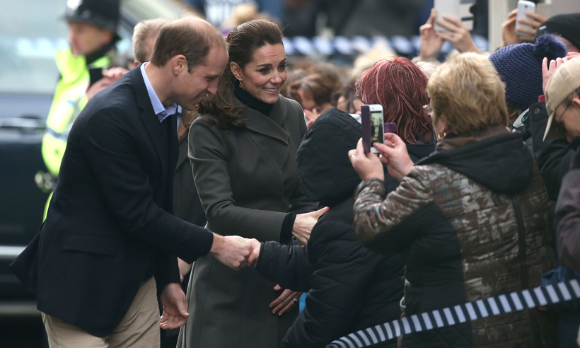 Accompanied by her husband Prince William, Kate greeted well-wishers gathered outside of Dundee's Rep Theatre in Scotland. 