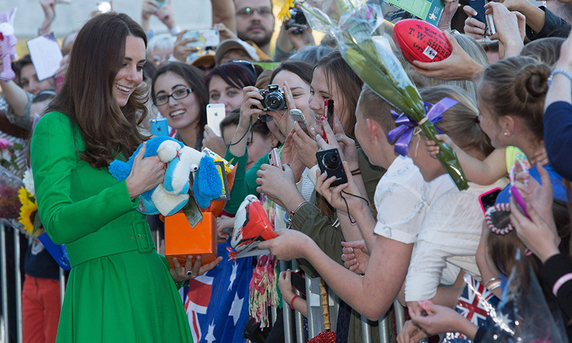 Kate was showered with gifts during a meet-and-greet at the National Portrait Gallery in Canberra, Australia, in 2014.