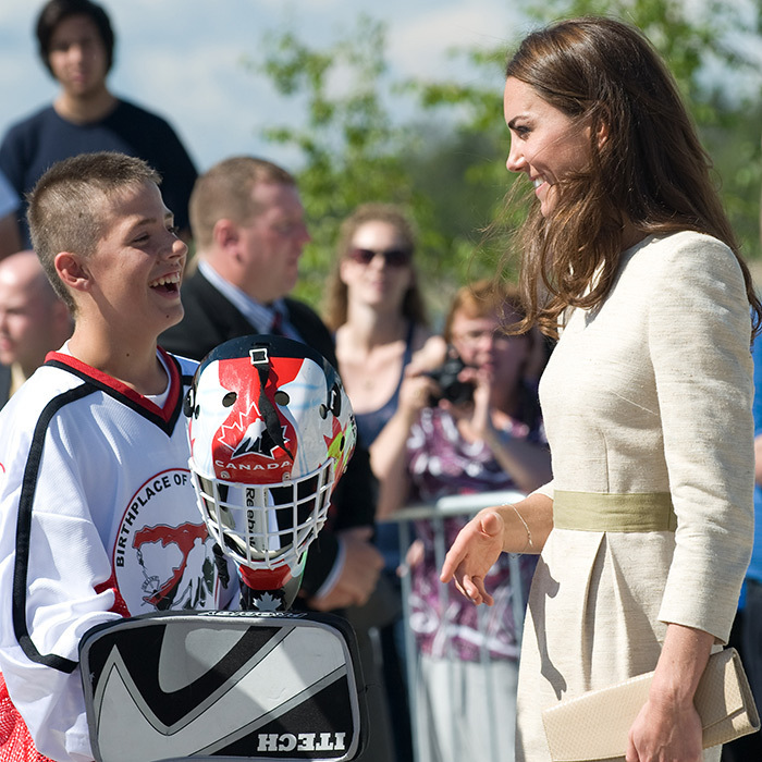 During the royal tour of Canada in 2011, Kate received a lesson in lacrosse from a new friend in Yellowknife. 
