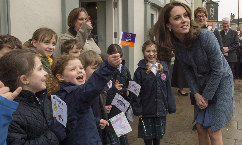 Local school children were excited to see the Duchess of Cambridge in March 2016, when the royal officially opened the new EACH charity thrift shop in Norfolk, England. 
