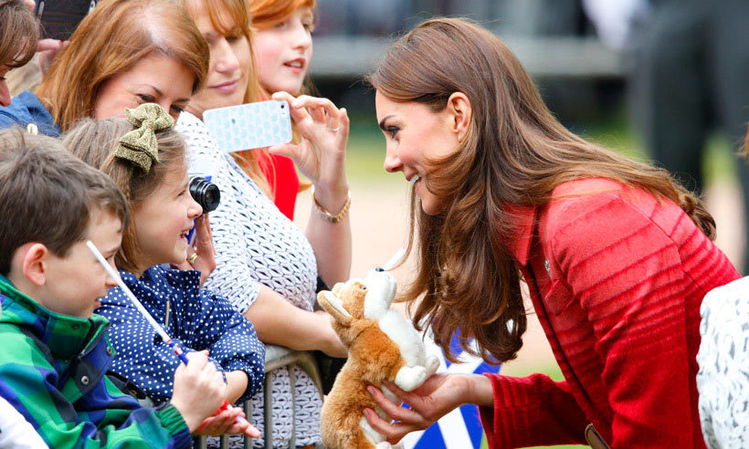 This young spectator knows her royal trivia! Kate was delighted to receive a toy corgi, Queen Elizabeth's fave dog breed, while on a meet-and-greet in Strathearn, Scotland, in 2014. 