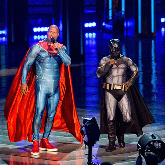 The Justice League 2.0 featuring Dwayne Johnson and Kevin Hart? The MTV hosts had their own superhero smackdown at the 2016 award show.