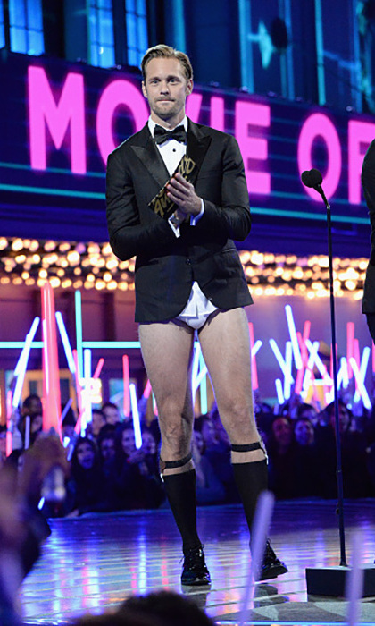 No pants, no problem! <i>The Legend of Tarzan</i>'s Alexander Skarsgård left his pants at home as he presented the Movie of the Year award. 