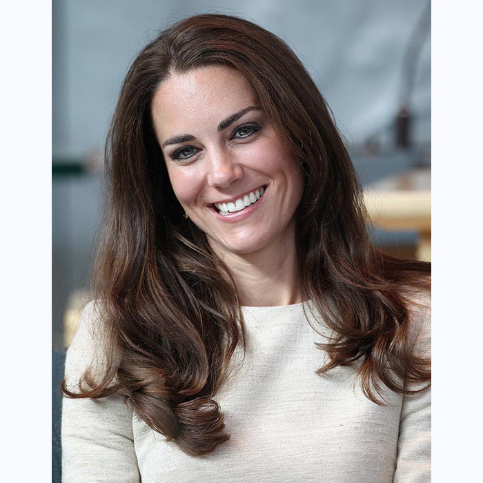 Kate looked as if she stepped out in a shampoo commercial with these cascading locks during a trip to Yellowknife, Canada,