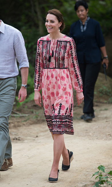 The Duchess wore a floral patterned Topshop Embroidered Print Midi Dress that retails for $140 for her visit to Pan Bari village. She wore another pair of Accessorize earrings that cost $19. 