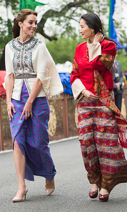 The Duchess took a stroll with the 'Kate Middleton of the Himalayas' Queen Jetsun Pema in a Paul & Joe top and a skirt created from material made in Bhutan. She accessorized the look with lavender Amethyst pear and oval drop earrings from Kiki McDonough. 
