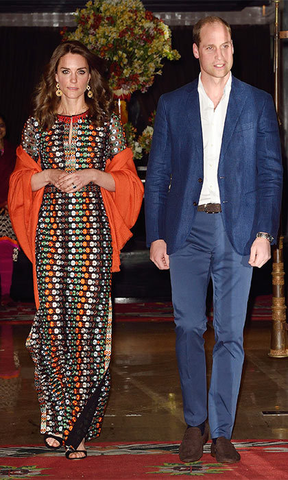 After a long day of engagements, the royal couple attended a private dinner with the King and Queen of Bhutan. Kate chose a beaded Tory Burch dress that retails for $1,495 for the meal.