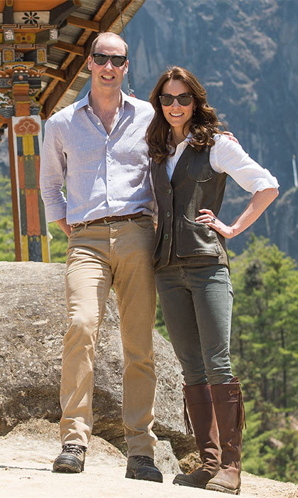 For a six-hour trek through the Bhutanese mountains, the Duchess of Cambridge opted for comfortable and easy-to-wear gear. For the grueling challenge, Kate wore jeans, a white shirt and a dark brown leather vest designed by one of her favorite outdoor British brands, Really Wild.