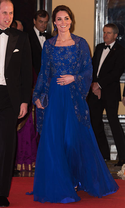 Kate wrapped up day one with the perfect gala attire, wearing the cobalt blue Jenny Packham gown and pairing it with matching earrings by Indian jeweler Amrapali.