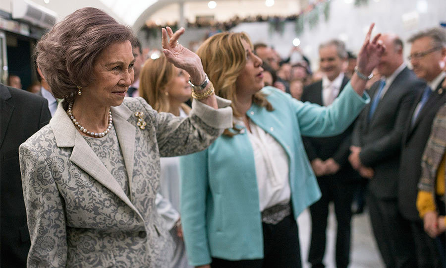 Queen Sofia of Spain – mother of current King Felipe – gave a royal wavea as she attended a ceremony to mark the 40th anniversary of the Reina Sofia University Hospital in Cordoba, Spain.