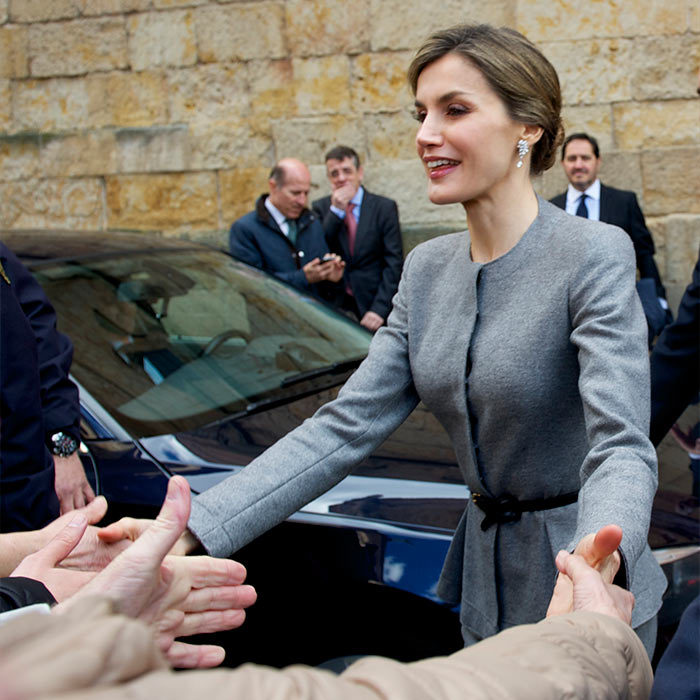 Queen Letizia of Spain greeted royal fans at an investiture of honorary doctors at Salamanca University, Spain.
