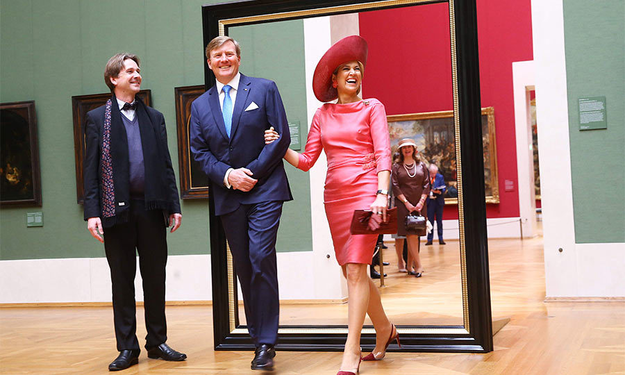 Tickled pink! The royal couple shared another giggle as they toured the Alte Pinakothek art museum in Munich.