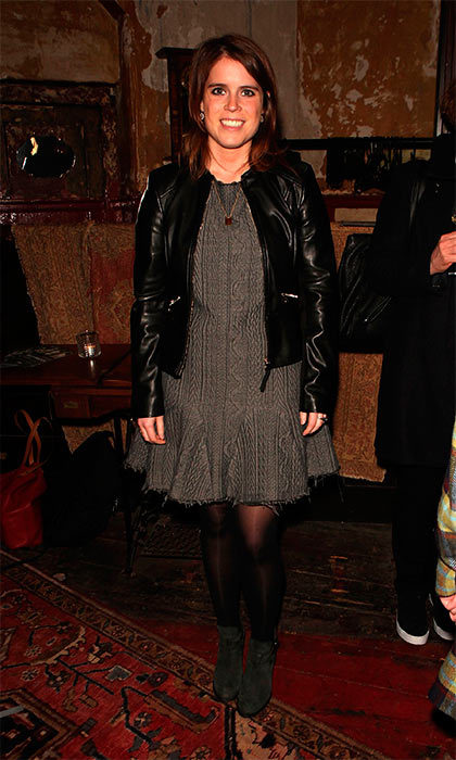 Princess Eugenie gave some extra edge to her wool dress with a sleek leather jacket as she attended the production of Jean Genet's <I>Deathwatch</I> in London.