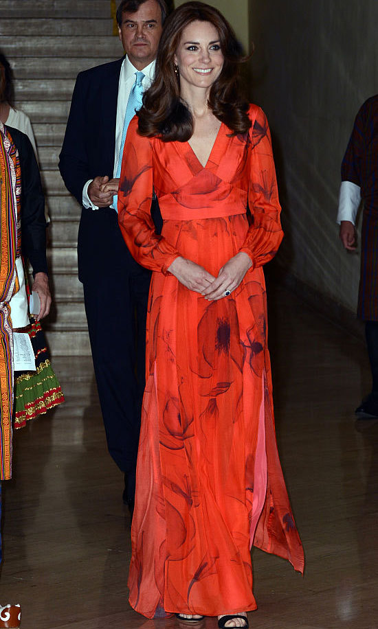 Kate Middleton cleaned up nicely after her Friday hike to attend a formal reception celebrating relations between Britain and Bhutan. The Duchess stepped out for the formal occasion wearing a pleated, chiffon gown by British label Beulah London. The $1,057 frock was a nod to the host country with its poppy print (Bhutan's national flower is the poppy).