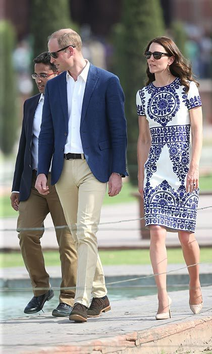 After leaving Bhutan, the royal couple headed back to India to visit the Taj Mahal, where Kate opted for an embroidered Pre-Fall 2015 look by Indian-American designer Naeem Khan.